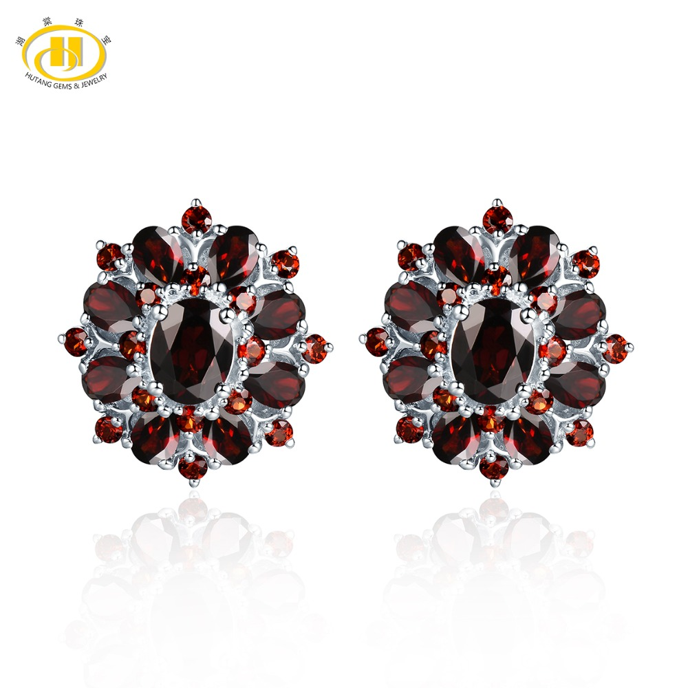 Hutang Stone Jewelry Natural Gemstone Black Garnet Solid 925 Sterling Silver Earrings Fine Fashion Jewelry For Womens Gift New