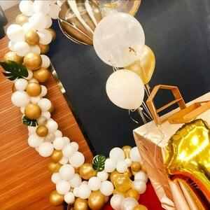 Image 2 - Ballons en arche en or et blanc, 133 pièces, en guirlande pour mariage, décoration en Kit pour fête danniversaire