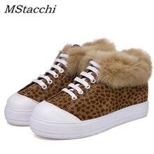 c2bab9abcc MStacchi Novo Ata acima As Sapatilhas Das Mulheres Botas de Neve de Inverno  de Moda da Pele do Leopardo Sapatos de Plataforma Pl..