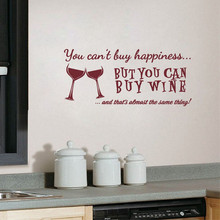 You Cant Buy Happiness But Can Wine Vinyl Wall Art Quotes Sticker Home Kitchen/ Bar Decals Decorative LW23