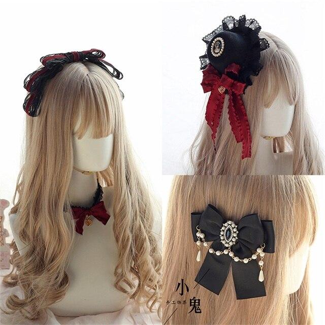 Vintage Dark Girls Gothic Lolita Pearls Bow Black Hat Headband Hair Accessories Headwear Women's Headdress Hair pin
