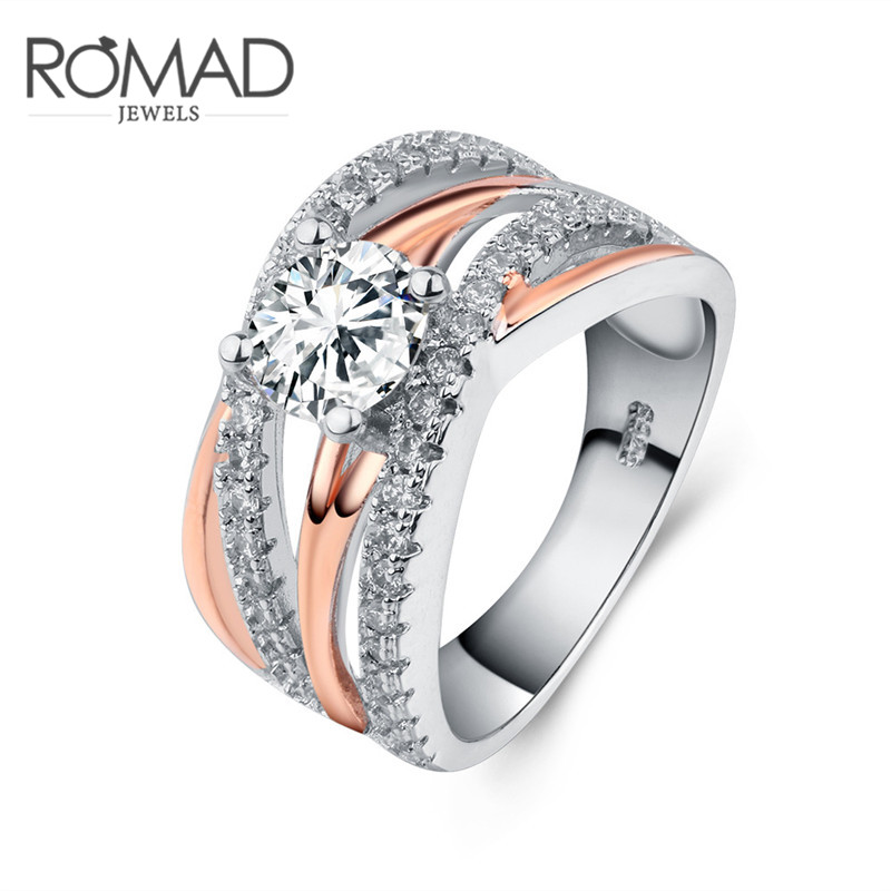 Romad Exquisite Cross Finger Rings For Lady CZ Zircon Luxury Wedding Engagement Ring Rose Gold Color Princess Women Jewelry R4