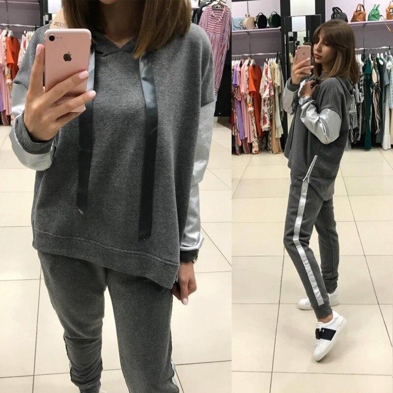 2018 explosif costumes rue décontracté femmes lâche ajustement à capuche kpop sweat coréen pantalon deux ensembles femmes sweat à capuche