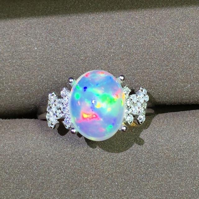 Natural Transparent opal gem Ring Natural gemstone ring S925 sterling silver tre