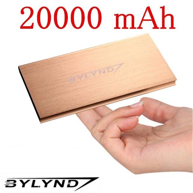BYLYND 18650 Портативный Powerbank Для Xiaomi Iphone Power Bank Зарядное Устройство Poverbank Мобильный Телефон Ультра-тонкий 20000 мАч 2USB