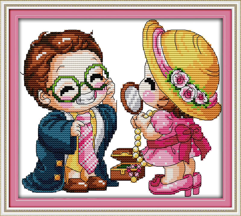 Enjoy playing and pretending, counted printed on fabric DMC 14CT 11CT Cross Stitch kits,embroidery needlework Sets, Home Decor