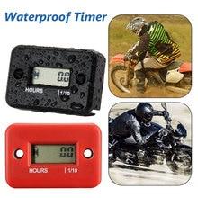 Digital Hour Meter Waterproof LCD Display Inductive Hour Meter Tachometer for Bike Motorcycle Snowmobile Marine Engine 0-9999.9H