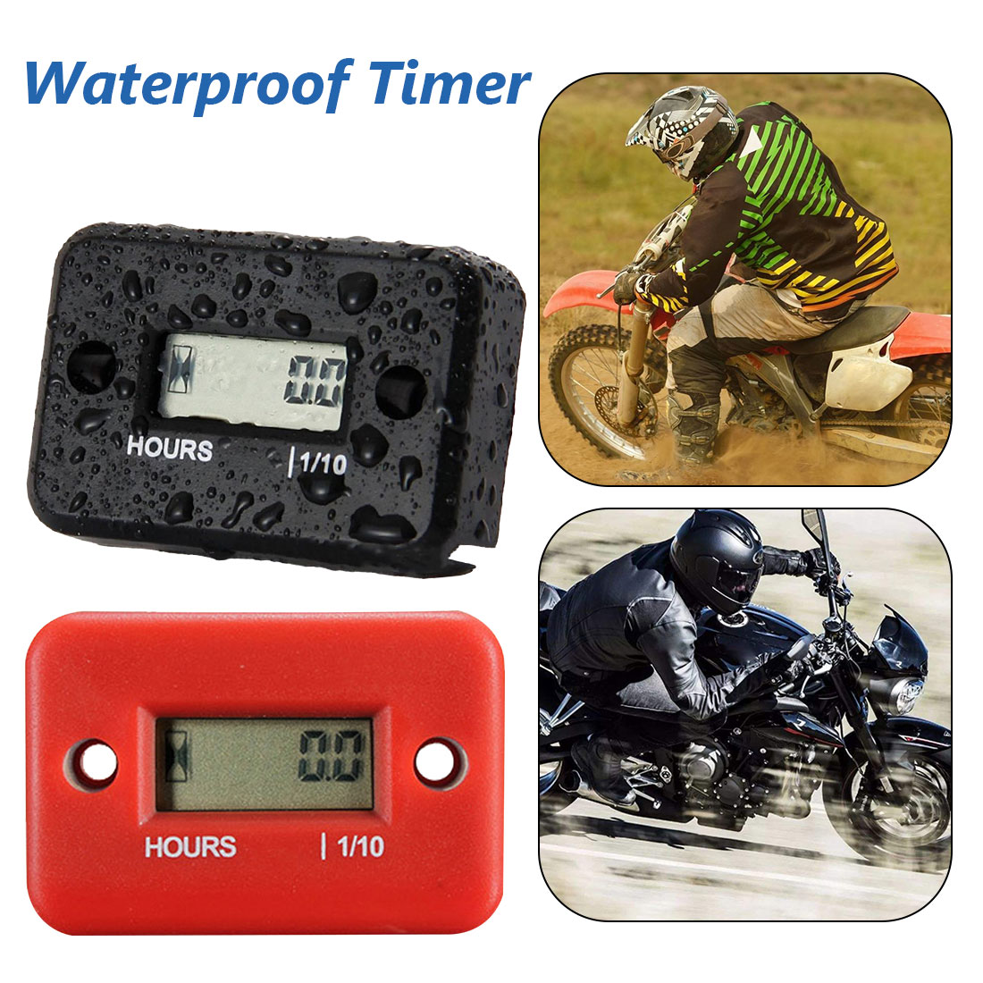 Digital Hour Meter Waterproof LCD Display Inductive Hour Meter Tachometer for Bike Motorcycle Snowmobile Marine Engine 0-9999.9H image