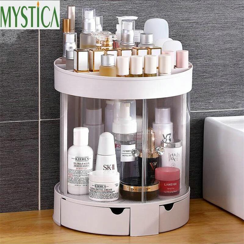 Fashion Plastic Makeup Storage Box Brush Holder Bathroom Dedroom Organizer Box Case Desktop Jewelry Cosmetic Gift Storage Rack