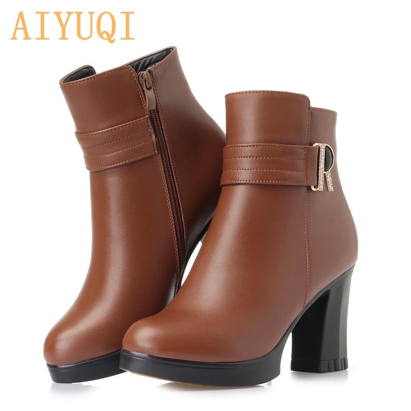 Aliexpresscom  Buy Aiyuqi Women Naked Boots Winter 2019 Genuine Leather Women Dress -1249