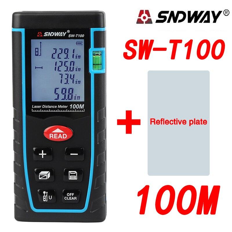 SNDWAY SW T100 100M Digital Laser Distance Meter Laser Rangefinder Range Finder Measure Tape Roulette Trena Diastimeter