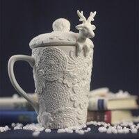 White Elk Sculpture Ceramic Mug Dimensional Embossed Coffee Cup With Elk Spoon Creative Carving Pottery Tea