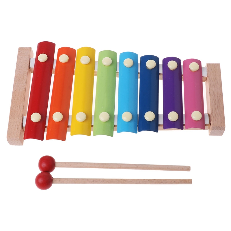 Learning Education Wooden Xylophone 8-Note Music Instrument For Kid Baby Toy