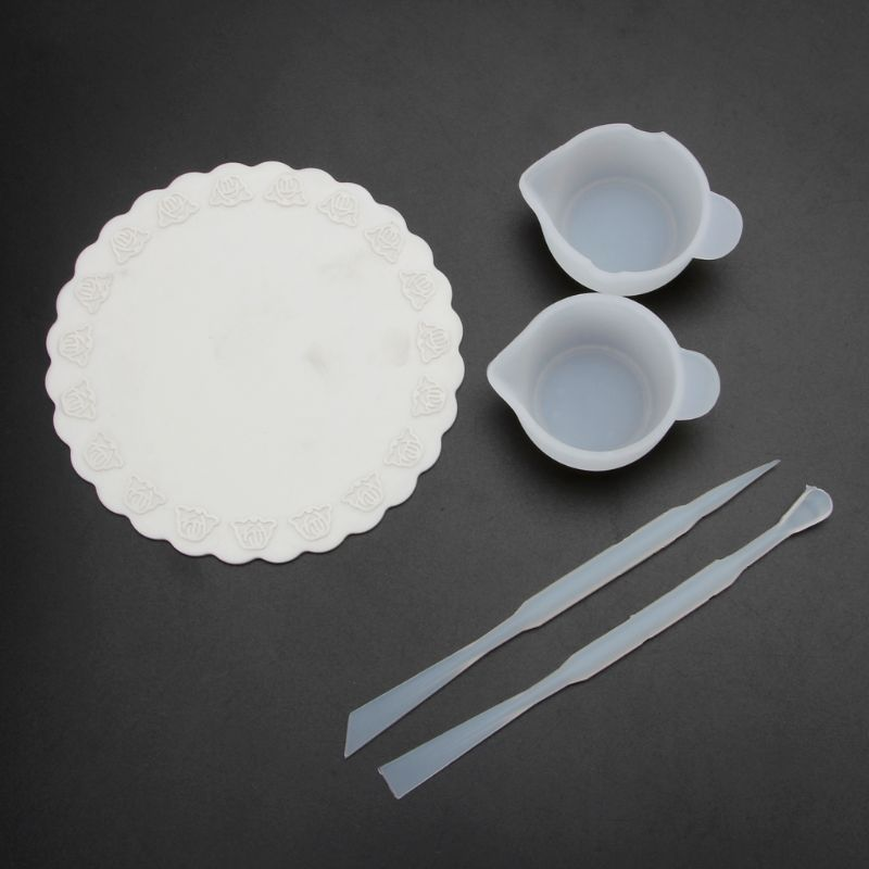 UV Resin DIY Casting Jewelry Tools Kit Including Silicone Cup Stirrers Spoon Pad