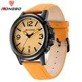 2016 Hot Seller Luxury Brand LONGBO Simple Leather Wristwatches Sport Style Mens Quartz Watch Date Calendar Waterproof 80182
