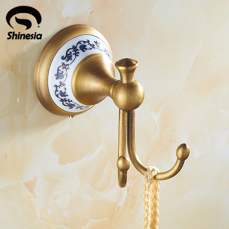 Antique Brass Bathroom Bath Towel Hanger Towel Hooks Coat Hook Robe Hook Wall Mounted succulent shaped wall mounted hook