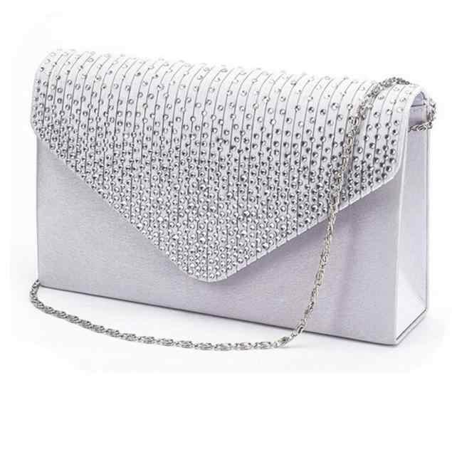 Dames Satin embrayages sacs de soirée cristal Bling sacs à main de mariage sac à main enveloppe mode femmes sacs portefeuille pochette chaude