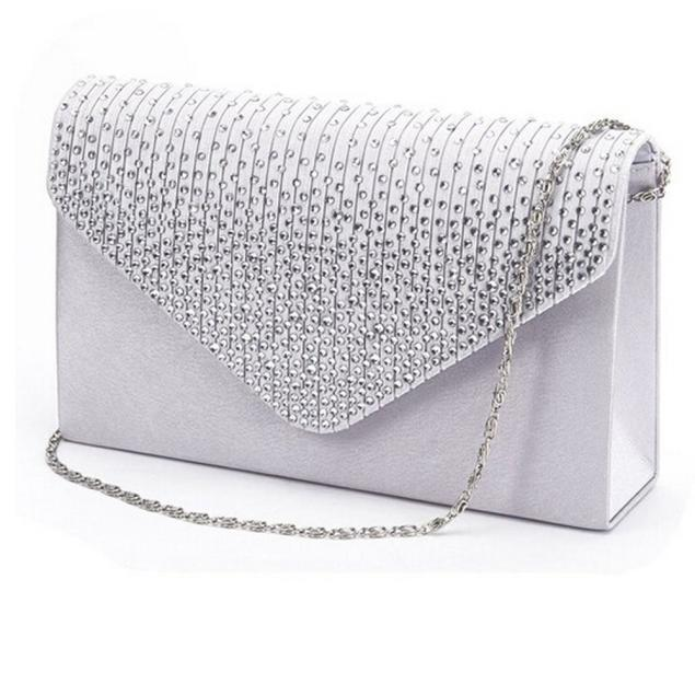 Womens Bags Purse Wallet Clutch-Bag Envelope Satin Crystal Wedding-Party Fashion Ladies
