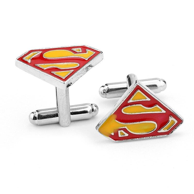Luxury shirt cufflinks for mens Brand cuff button Superman