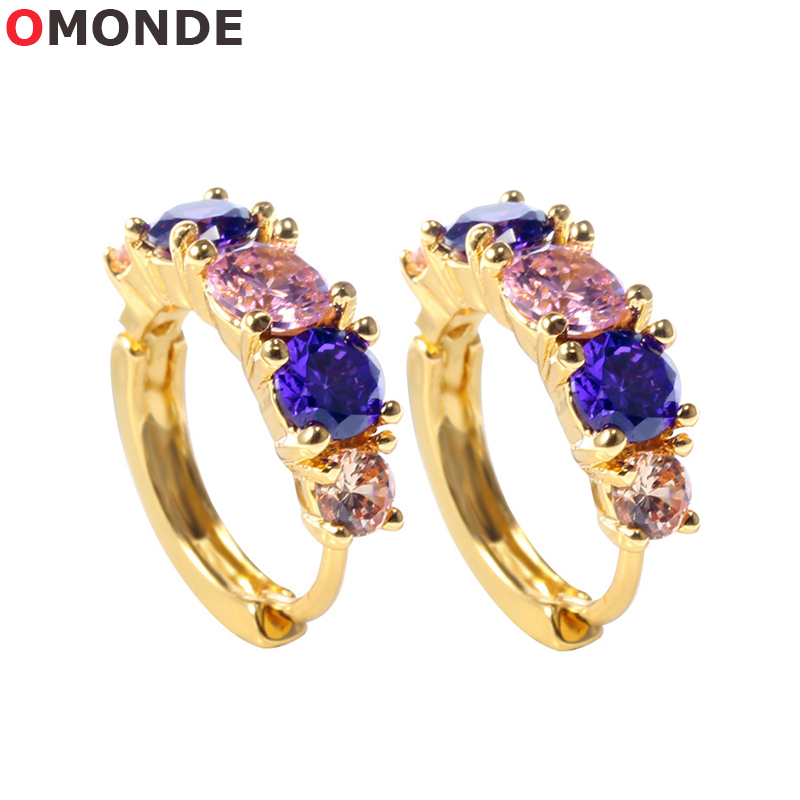 OMONDE 18*5 mm Womens Hoop Earrings Gold Silver Color Copper Colorful Shiny Zircon Stones for Female Fashion Party Jewelery