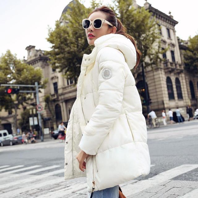 Parkas largo Abrigo de Invierno Engrosamiento de Algodón de Las Mujeres Abajo Chaqueta de Invierno 5 de Color Acolchado Abrigo de Invierno Outwear 2016