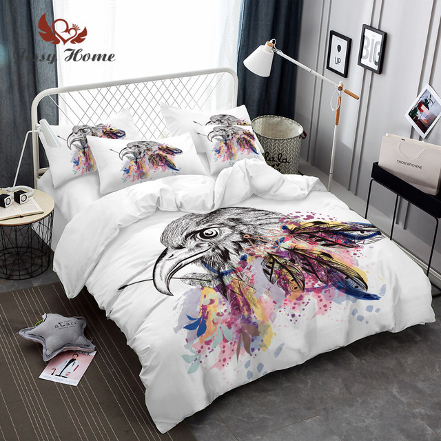 queen feather bed Dreamcatcher Feathers Luxury Watercolor Bedding Set Bohemian  queen feather bed