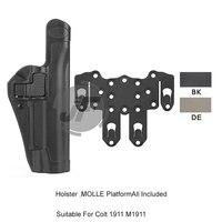Tactical Sepra Level 2 Auto Lock Duty Right Hand Full Length Pistol Holster w/ STRIKE MOLLE Platform For Colt 1911 M1911
