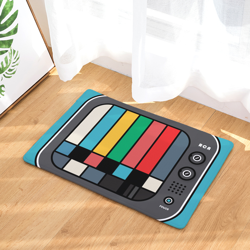 Vintage Entrance Mat Waterproof Anti-Slip Doormat Colorful Television Set Carpets Bedroom Rugs Decorative Stair Mats Home Decor