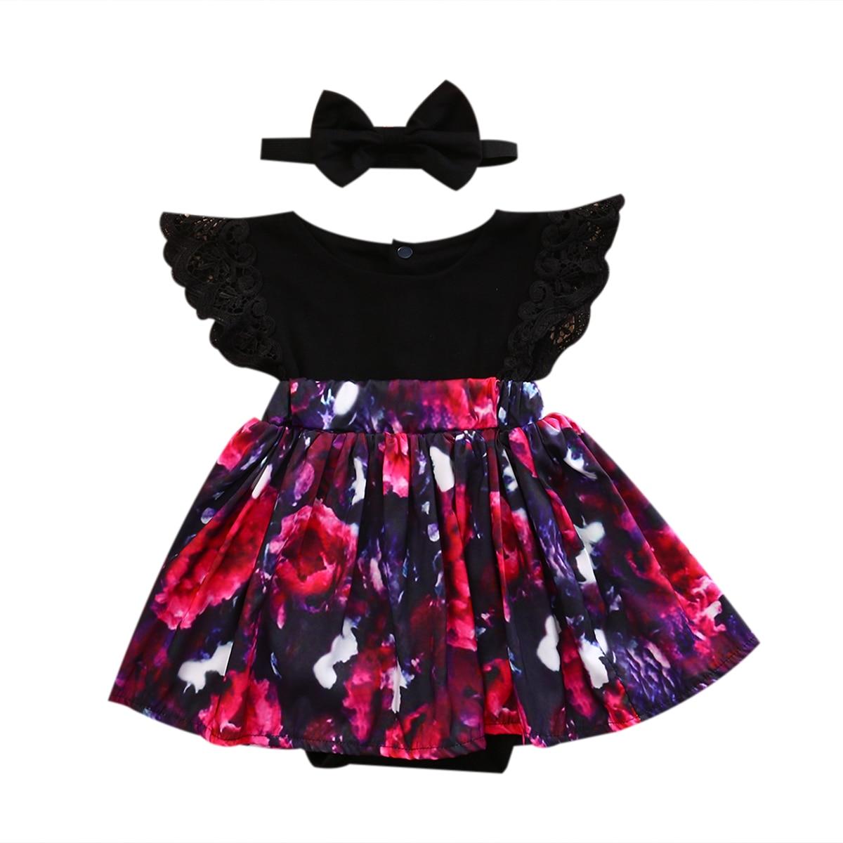 0-6y Toddelr Kinder Baby Mädchen Schwester Passenden Floral Jumpsuit Kleid Schwarz Stirnband Outfits Kleidung 2 Stücke Set NüTzlich FüR äTherisches Medulla