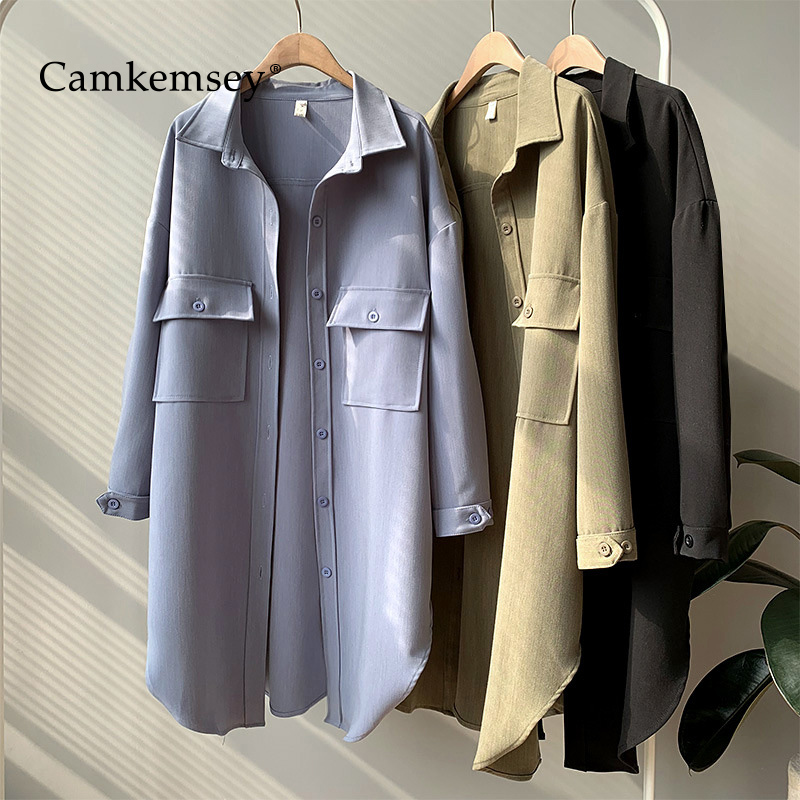 CamKemsey Spring Autumn Women Trench Coat 2019 New Fashion Pockets Casual Turn Down Collar Loose Long Shirts Trench Coats