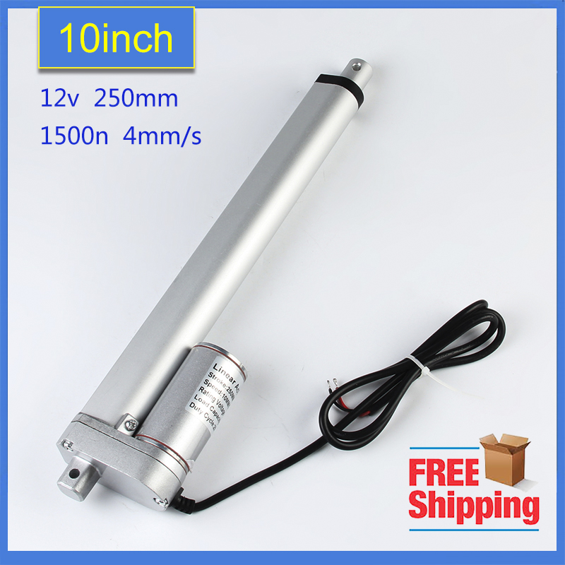 Freeshipping  250mm stroke 12V DC electric linear actuator,solar tracker,1500N=150KG load 4 mm/sec ,for electric sofa, bedFreeshipping  250mm stroke 12V DC electric linear actuator,solar tracker,1500N=150KG load 4 mm/sec ,for electric sofa, bed