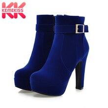 KemeKiss/ г. Большие размеры 33-43, вечерние женские ботинки, модная женская обувь на высоком каблуке пикантные зимние женские ботильоны на меху