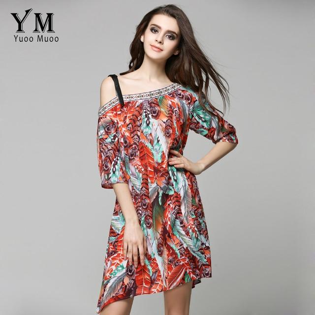 YuooMuoo New European Style Women Summer Boho Beach Dress Fashion Off  Shoulder Chiffon Dress Print Bohemian Dress Women Clothing 933fe2be6f80
