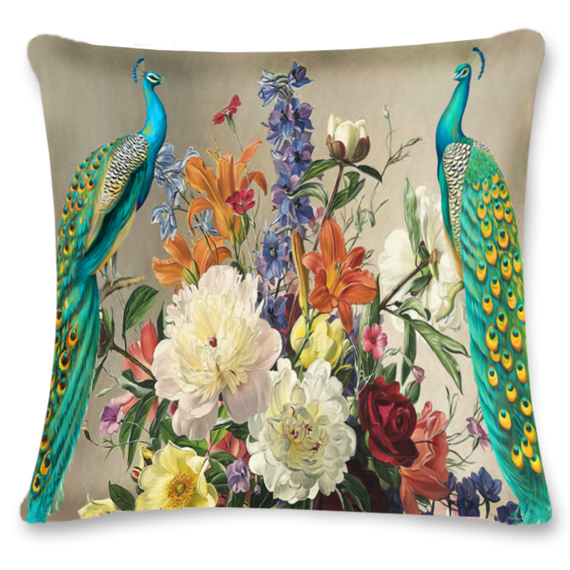 Peacock elk Pillowcase 3D Flower Christmas Plush 45cm*45cm Pillows Case Cover Bedroom Home Decorative W/zipper