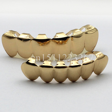 REAL SHINY!! REAL GOLD PLATED HIPHOP TEETH GRILLZ TOP & BOTTOM GRILL SET