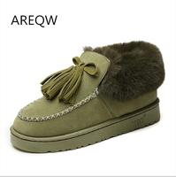 AREQW 2017 New Fashionable Snow Boots Winter Flat Warm Anti Skid Boots Hand Sewn