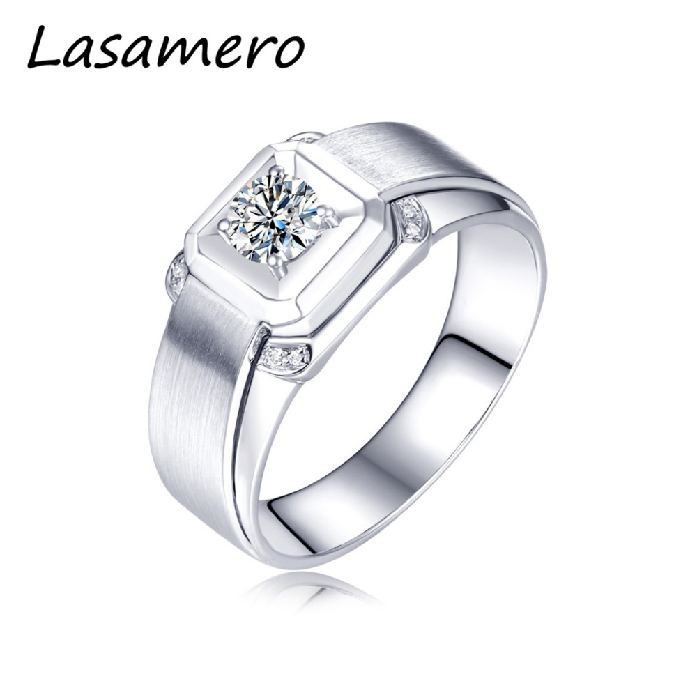 LASAMERO Rings for Men 0.233CT Round Cut Natural Diamond Ring 18k White Gold Engagement Wedding Ring yoursfs 18k white gold plated austria crystal soliraire anniverary rings with princess cut
