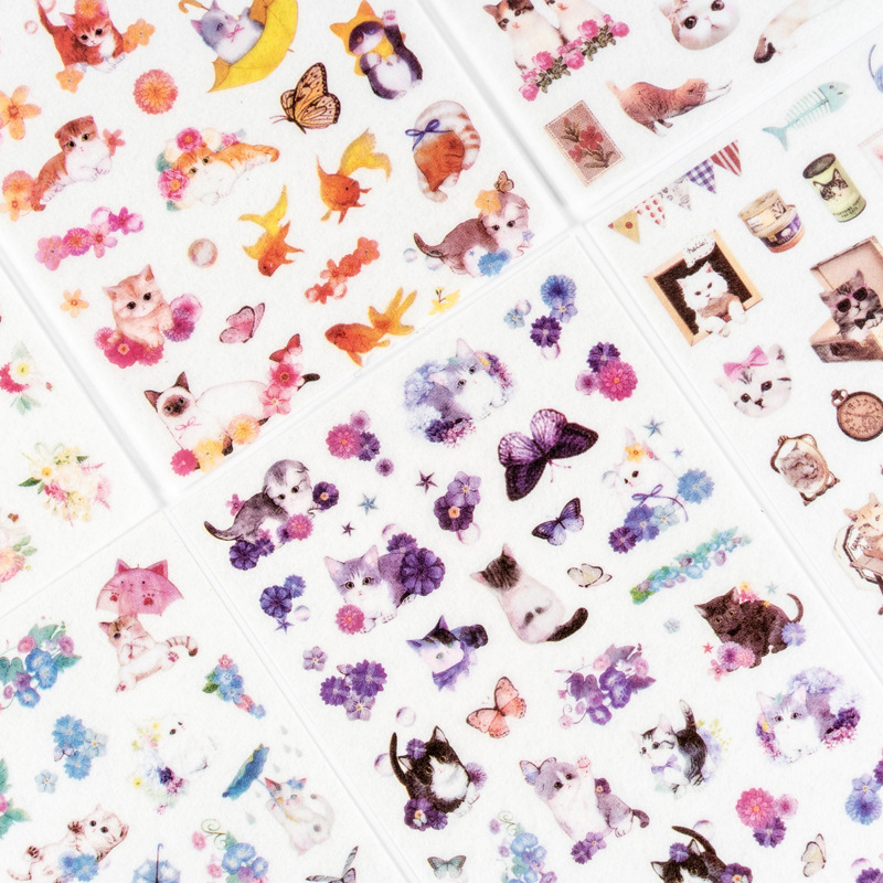 6sheets/lot Mohamm Japanese Journal Travel Scrapbook Paper Cat Calendar Deco Japan Girl Kawaii Flake Stickers Scrapbooking