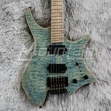 Горная безголовая гитара 6 струнная электрогитара fanned fret Ольха тела стеганая Кленовая жареная Шея