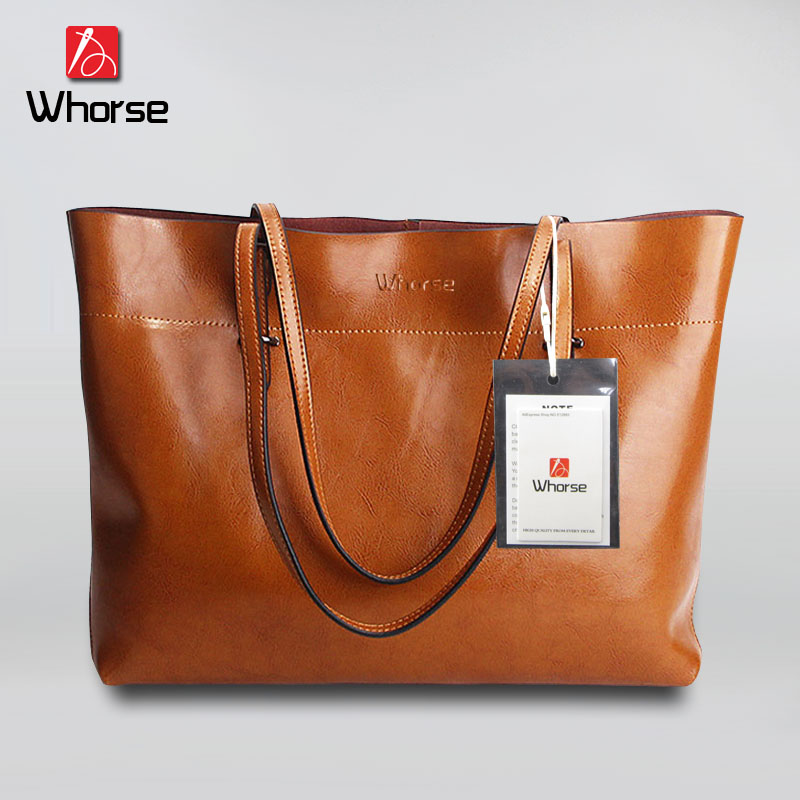 ФОТО [WHORSE] Brand Logo 2017 New Women Handbag Genuine Leather Shoulder Bag Cowhide Ladies Casual Shopping Bag Large Capacity Tote