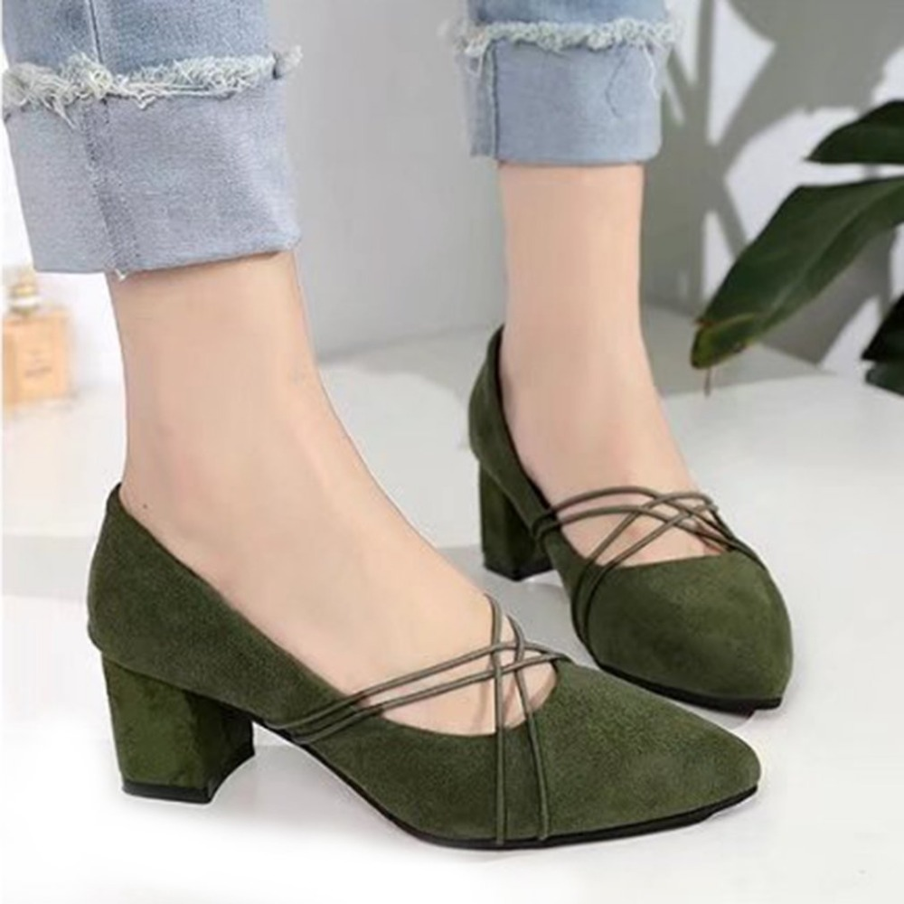 Women Solid Color Pumps Middle Heels Shoes with Cross Rope Decor Pointed Toe Nude Women Shoes with 6cm Square Heel for Women graceful women s pumps with hit color and pointed toe design
