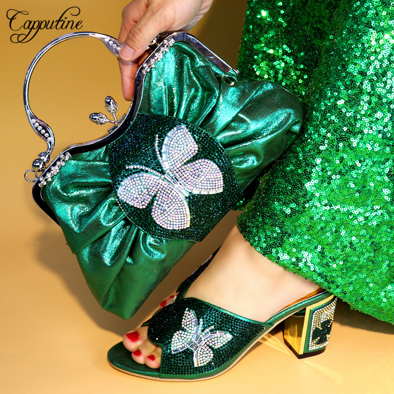 Capputine New Italian Woman Shoes And Bag Set African Rhinestone High Heels Shoes And Bag Set For Party Dress Size 38-42 TX-591 capputine italian fashion design woman shoes and bag set european rhinestone high heels shoes and bag set for wedding dress g40