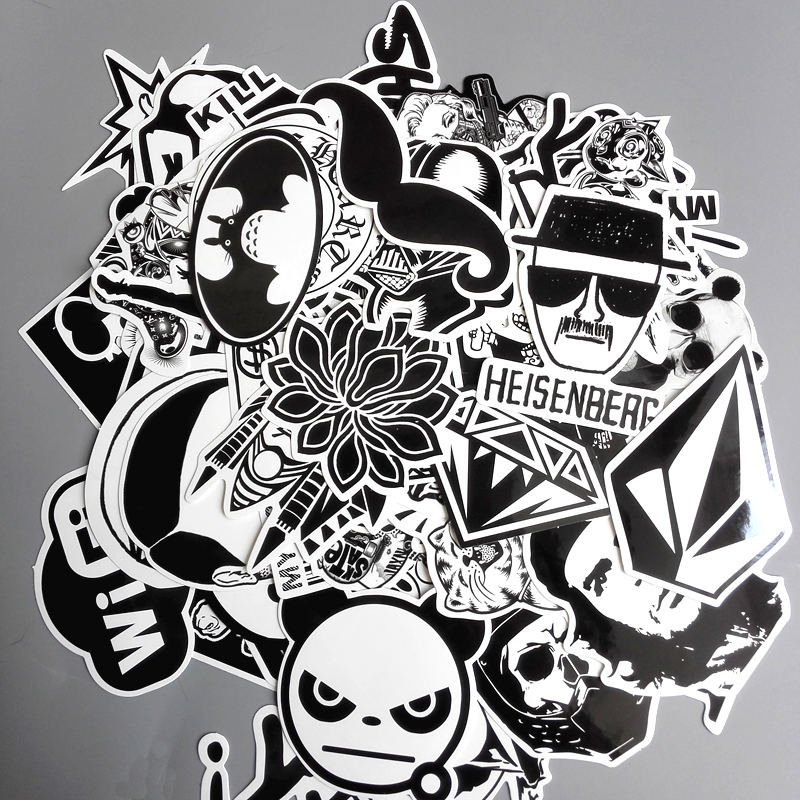 60pcs/lot Mixed Stickers Toy Styling Black And White DIY Vinyl Laptop Luggage Snowboard Phone Car Sticker Decal