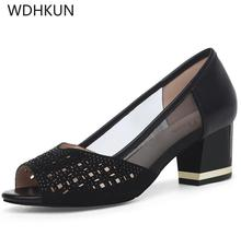 2019 new Summer Women Sandals Bling Open Toe High Heels Hollow Out Pumps Woman Dress Shoes OL office Ladies Shoes zapatos mujer недорго, оригинальная цена