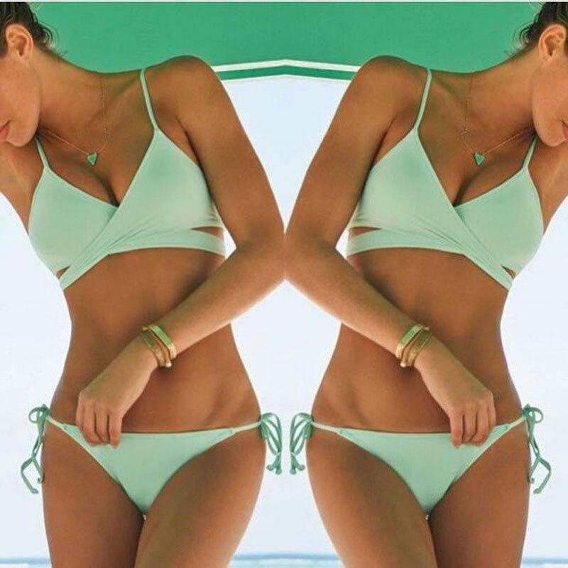 2016 Hot Sale Push Up Padded Bra Bikini Set Cross Bandage Swimwear Beach Sexy Brazilian Low Waist Swimsuit Women Bathing Suit three colors hot sale solid color push up adjustable straps low waist sexy sports bikini set swimsuit 2016 fd81621