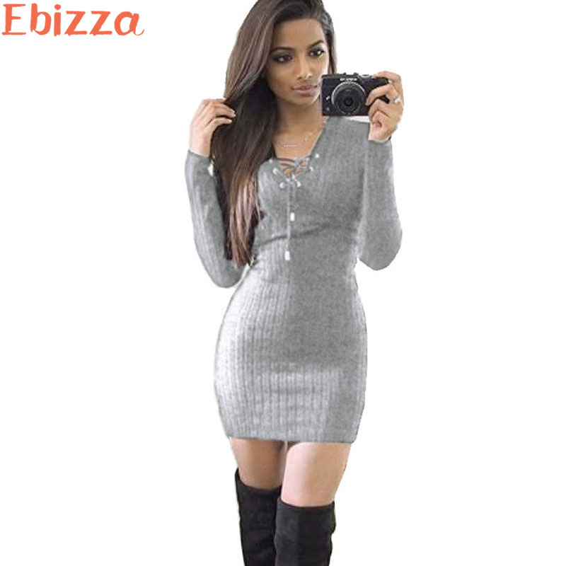 Ebizza Autumn Winter Knitting Short Sweater Dress Women Sexy Cross V Neck Sheath Dresses Knitted Slim Femme Party Vestidos