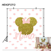 Минни Маус фон детский день рождения баннер фотография, фон, розовый лук волновой точки декоративная фотобудка на заказ