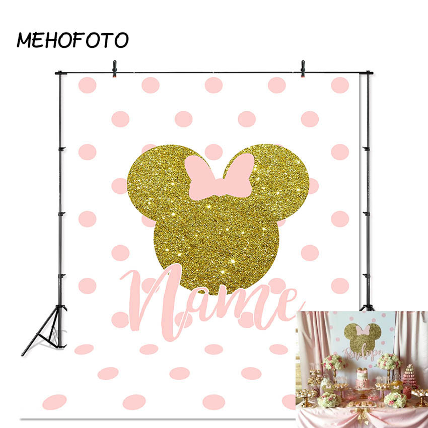 Minnie Mouse Backdrop Baby Birthday Party Banner Photography Background Pink Bow Wave Point Decoration Photobooth Custom
