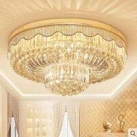 Простой Современный хрустальный светильник, круглый потолочный светильник для гостиной, спальни, кабинета, столовой, ресторана, осветитель