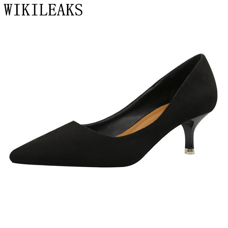 Korean style medium heel shoes woman zapatos mujer Genuine Leather suede pointed toe high heels women shoes ladies party pumps fashion suede leather heeled sandals pointed toe lace up women pumps spikle high heel women shoes zapatos mujer